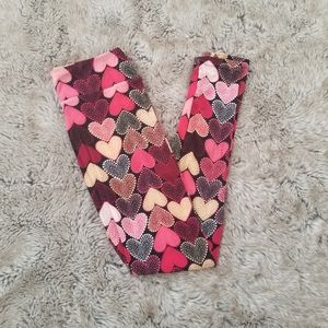 Lularoe Valentine's Heart Print Leggings One Size